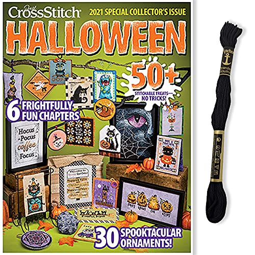 Just Cross Stitch Halloween Magazine - 2021 Special Collectors Issue, Plus Anchor Black (403) Embroidery Floss, 2-pc. Bundle