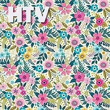 Floral Blue Pink Pattern HTV, 12