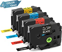 4-Pack Compatible with Brother Labeling Tape TZ TZe 431 531 631 335 12mm 0.47'' Laminated Color Tapes Compatible with Brother PTD-400AD PT-D210 PT-2030 Label Maker