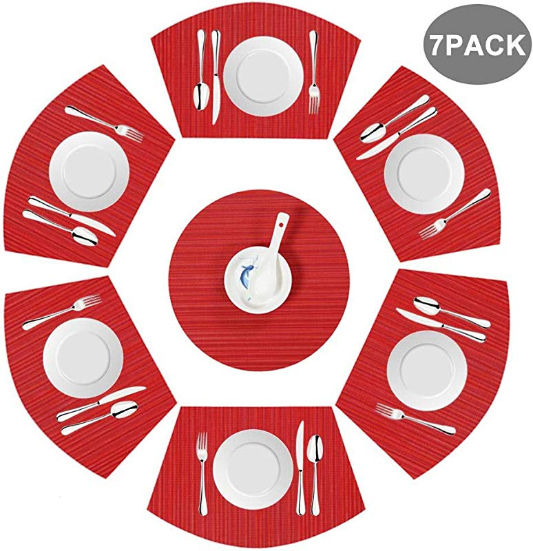 FOONEE Set Of 7 Round Table PVC Placemats 17 5 11 4 Inch Wedge Woven Polyester Placemats Washable Heat Resistant Stain Resistant Table Mats