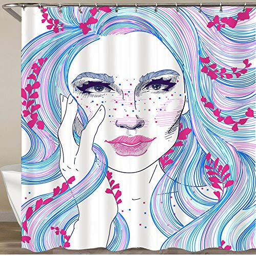 COVASA Shower Curtain,face Beautiful Girl Colored Blue Pink Hair sprigs Herbs Lavender Flowers,Polyester Fabric Waterproof Bath Curtains Hooks Included - 72 x 72 inches