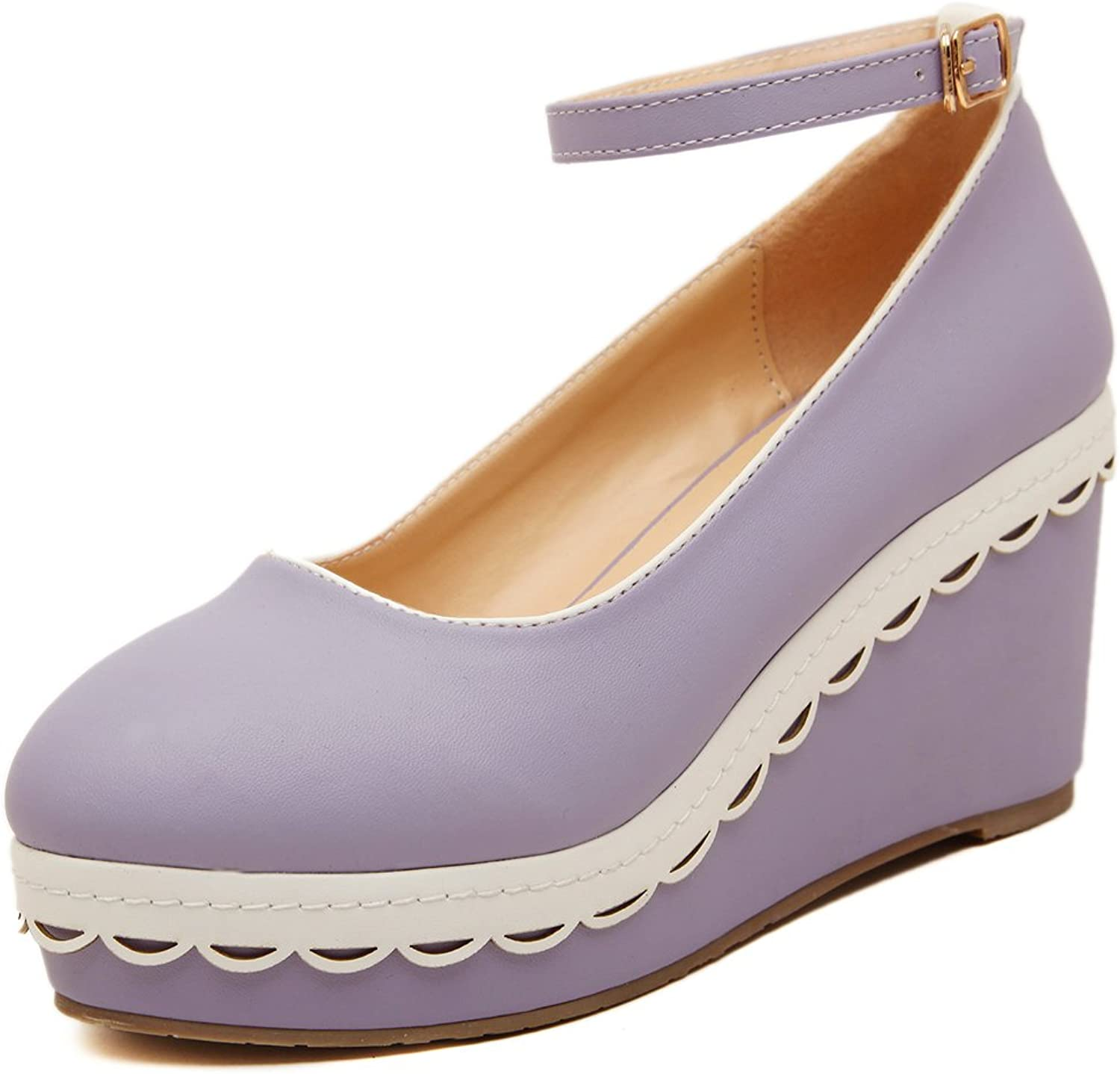 Adelina Women's Bright Candy color Wedge Heel Platform Pumps shoes 1-Purple 39 EU   7.5-8 US