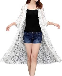 Women Open Front Lace Crochet Sheer 3/4 Sleeve Long Cardigan