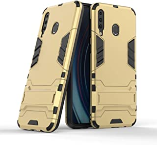 FanTing Case for LG W30 Pro, Rugged and shockproof,with mobile phone holder, Cover for LG W30 Pro-Gold