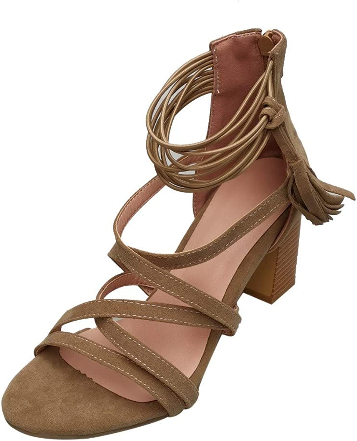 Youngh Women Fashion Thick Heel Cross Strappy Tassel High Heels shoes Lace-Up Sandals Open Toe Sandals with Ankle Strap