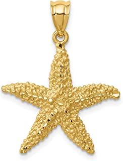 14k Yellow Gold Brushed and D/C Starfish Pendant