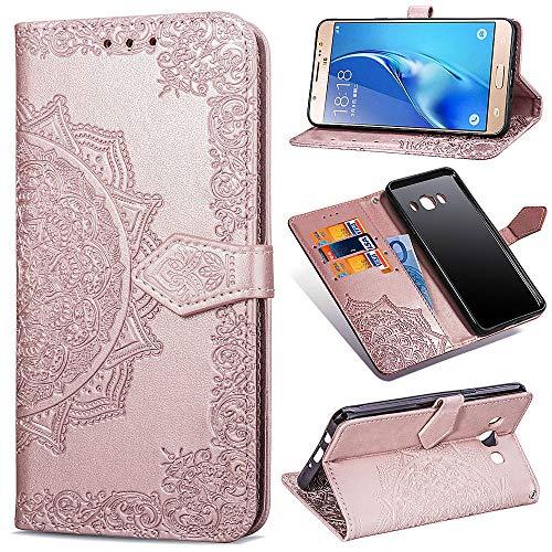 Qiaogle Funda para Samsung Galaxy J7 (2016) / J710 - PU Cuero Mandala Billetera Clamshell Carcasa Cover para Samsung Galaxy J7 (2016) / J710 - SD13 / Rose Gold
