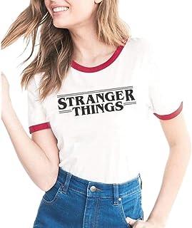 pujingge Womens Crew Neck Short Sleeve Stranger Things Print T-Shirt