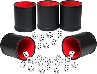 Leatherette Dice Cup Set Red Felt Lined Shaker with 6 Dot Dices for Yahtzee Farkle Bar Party Dice Games-5 Pack