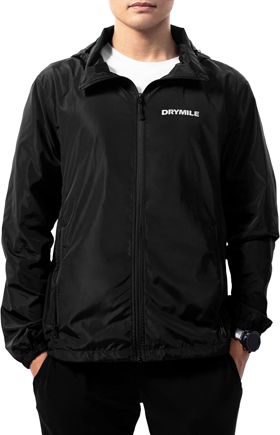 DRYMILE Excursion Men's Lightweight Jacket, Water Resistant, Packable Hooded Windbreaker with Face Shield