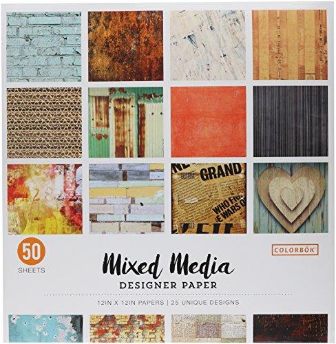 ColorBok 73470B Designer Paper Pad Mixed Media 12quot x 12quotMulticolor