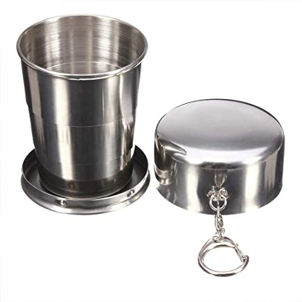 EXMART Portable Collapsible Cup Stainless Steel Portable Folding Metal Cups Mug for Excursion Outdoor Travel Camping Picnic