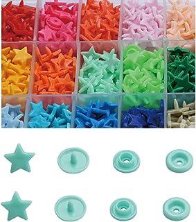 150 Sets Snap Kits, T5 15 Colors Snap Fastener Kit Flower Heart Star Round Shape Plastic Resin, Buttons Fastener Set for C...