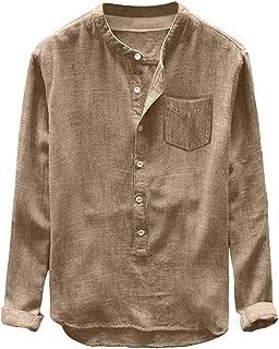 Mens Linen Shirts Tronet Fashion Mens Autumn Winter Button Casual Linen and Cotton Long Sleeve Top Blouse