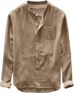 Tops Fashion Men's Long Sleeve Blouse Autumn Winter Button Casual Linen and Cotton Blouse Shirts Linen Blouse