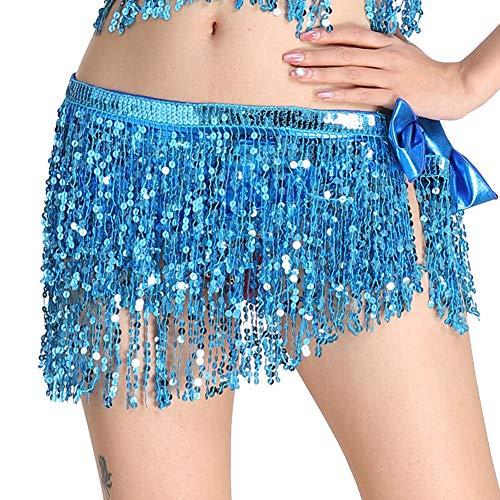 Guiran Femme Foulards De La Hanche Danse Latine Jupe De Danse du Ventre Lac Bleu Une Taille