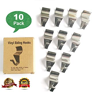 Vinyl Siding Hooks, Vinyl Siding Hooks for Hanging, Heavy Duty Stainless Steel Low Profile No-Hole Hanger Hooks, Outdoor Hooks for Vinyl siding, Vinyl siding Hooks Heavy Duty (10 Pack)