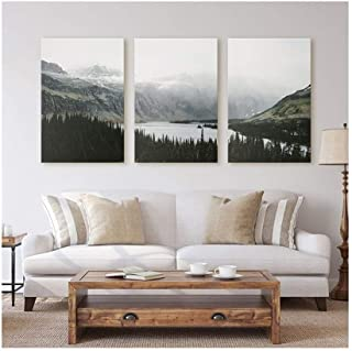 RUIMA Nature Landscape Canvas Painting Nordic Style Poster Wall Art Pictures For Living Room Decor Forest Lake Posters And...