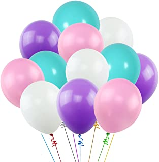 K KUMEED Balloons Assorted Color 12 Inches 100 Pack, White Purple Pink Blue Thickened Latex Balloons for Birthday Party Decorations