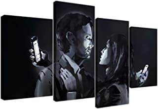 Large Banksy Mobile Lovers Canvas Wall Art Pictures - Black and White - Set of 4 - Modern Graffiti Prints - Split Multi Panel Canvases - XL - 130cm