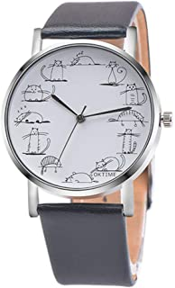 Newly Design Lazy Cat Cartoon Printed Leather Band Analog Alloy Quartz Wrist Watch