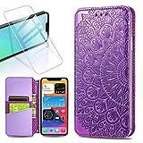 QC-EMART Coque pour iPhone 12 avec Protection d'Écran, Coque Violet Fleur 3D Relief Étui Portefeuille à Rabat Housse en Cuir Fentes Cartes Magnétique Case Cover pour iPhone 12