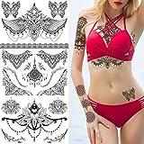 glaryyears 8 Sheets Black Mandara Underboob Tattoo for Women, Flower Leaf Butterfly Dreamcatcher Designs Temporary Tattoo Stickers on Chest Waist Waterproof Body Art Large Size