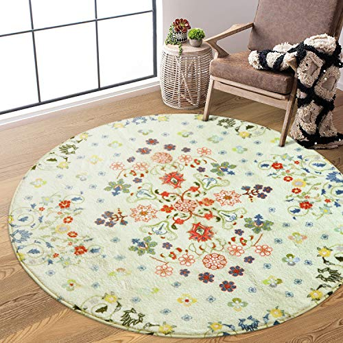Uphome Round Area Rug 4ft Beige Rustic Floral Throw Rugs Super Soft Velvet Accent Rug Contemporary Cute Floor Carpet Non-Slip Washable Country Colletcion Design for Bedroom Living Room Home Decor