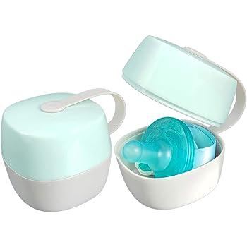 LANEYLI Pacifier Case Pacifier Holder Case Pacifier Clip Binky Holder Case Pacifier Box Pacifier Accessories 2 Pack, Macaron Green
