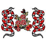 Gosear Clothes Patches, Embroidered Clothes Patches, 3 PCS Exquisite Snake Floral Pattern DIY Clothes Patches Stickers Embroidered Sew Patches Clothes Accessories for T-Shirt Jeans Clothing Bags