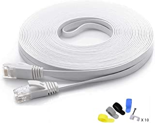 Cat 6 Ethernet Cable 50ft White (at a Cat5e Price but Higher Bandwidth) Flat Internet Network Cables - Cat6 Ethernet Patch...