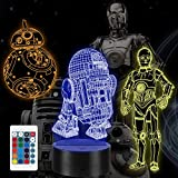 3D Illusion Star Wars Night Light, 7 Colors 3D Decor Lamp with Remote Control, Star Wars Gift Toys for Kids/Boys/Star Wars Fans/Men