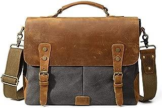Brainsick Horse Leather Business Men Handbag Fashion Canvas Shoulder Leather laptop bag JUYOUSHENGKEJI