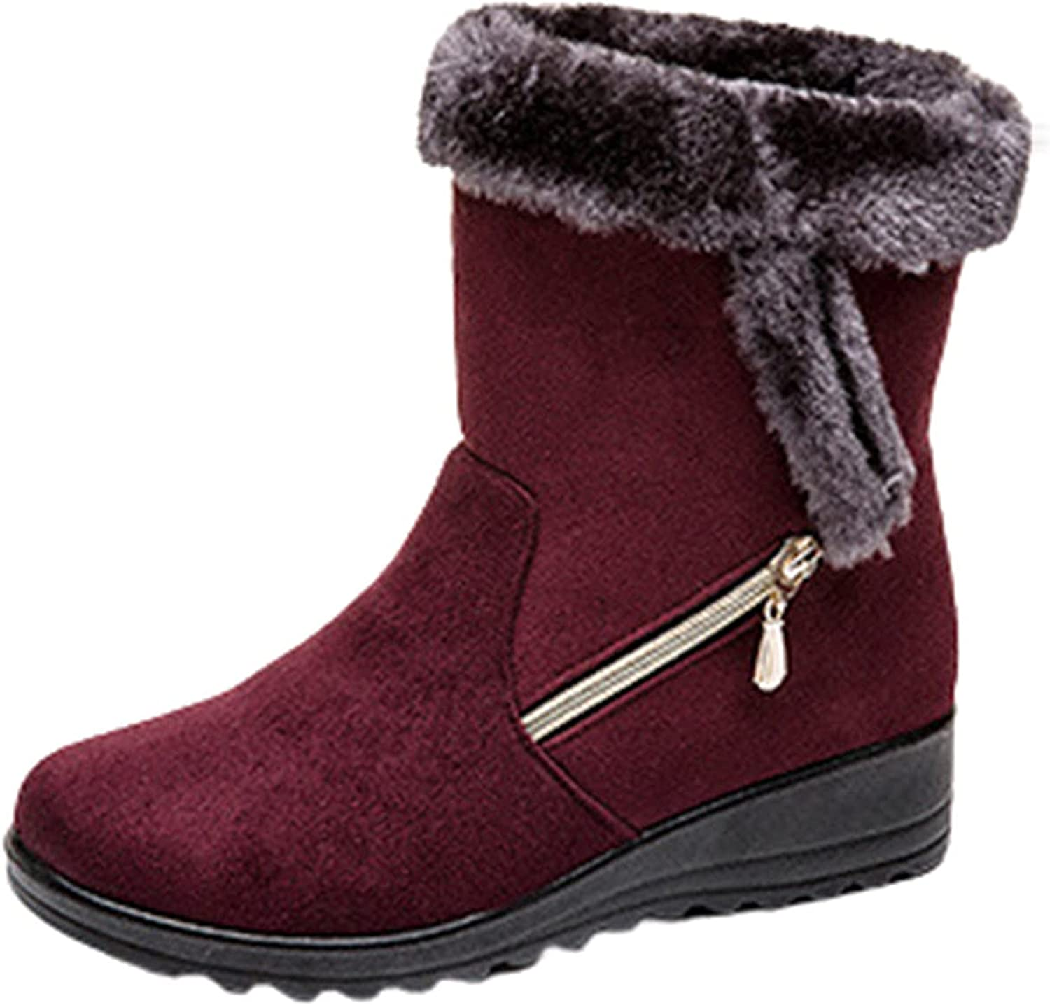 Women's Suede Boot Upper Zipper Warm Waterproof Insulated Durable Shoes Faux Fur Flat Boots For Snow Skid Shoes