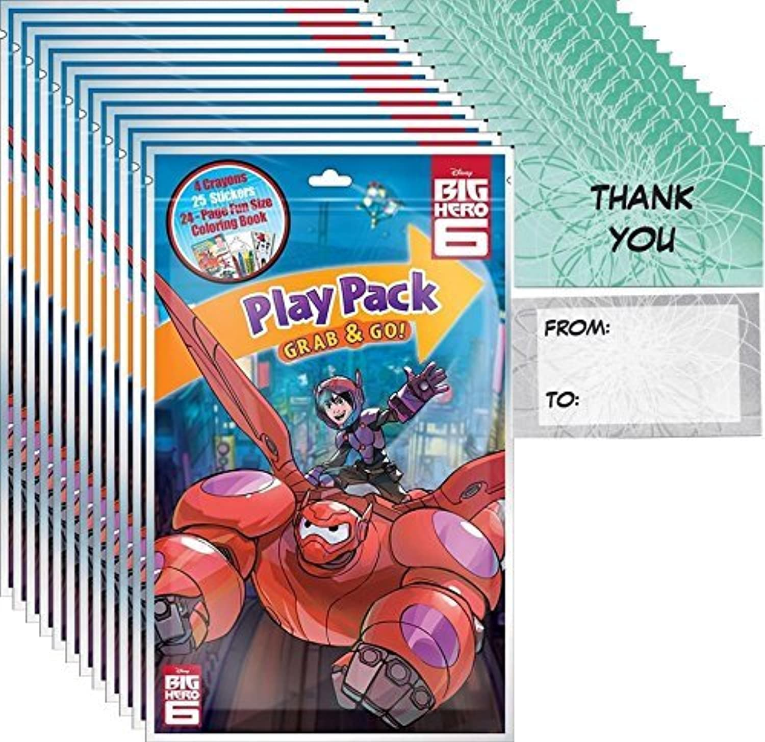 Big Hero 6 Play Pack Grab & Go (12 Packs) Party Favors and 12  Thank You Cards