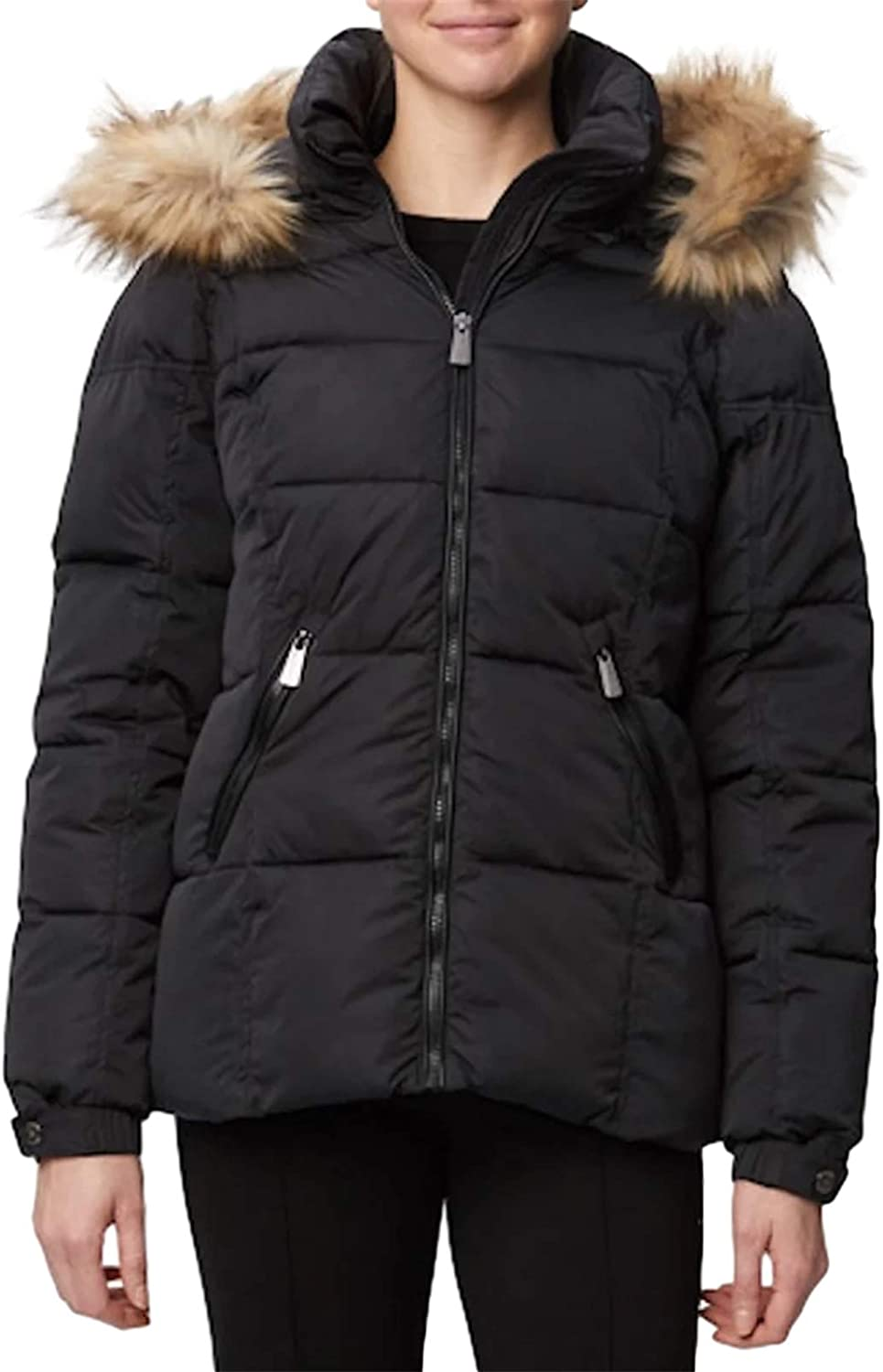 BRUBOBO Womens Thicken Winter Coats Quilted Warm Parka Jackets with Removable Faux Fur Hood