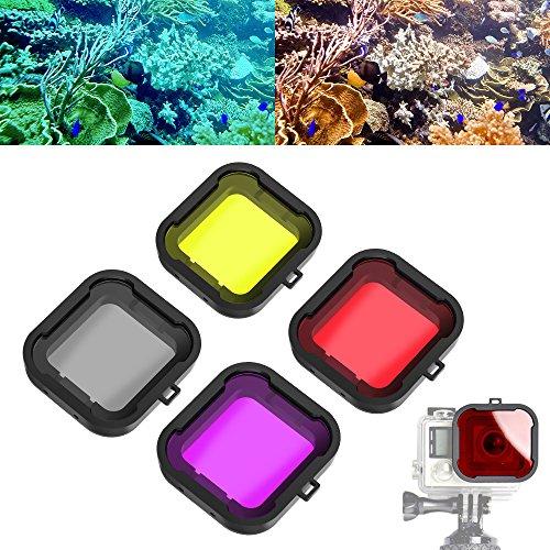 Asiv 4 Stück Unterwasser Sport Tauchen Filter Objektiv für GoPro 3+ 4 Standard-Gehäuse (Rot + gelb + grau + violett)