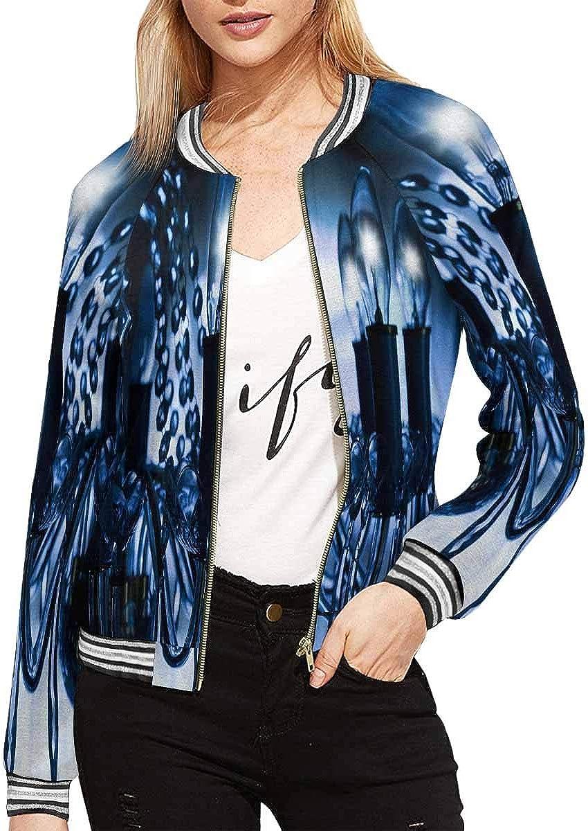 InterestPrint Women's Christmas Stand Collar Long Sleeve Jacket