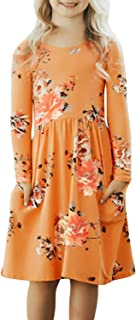 Ecokauer Girls Long Sleeve Floral Print Pleated Swing Casual Midi Dress with Pocket Size 4-13