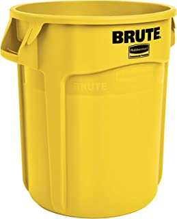Rubbermaid Commercial Products FG262000YEL BRUTE Heavy-Duty Round Trash/Garbage Can, 20-Gallon, Yellow