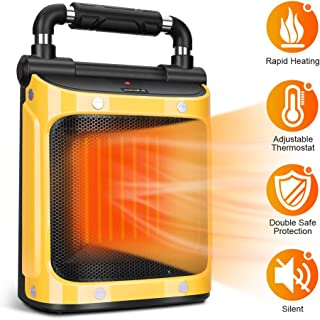 Electric Space Heater - Portable Heater 1500W with Adjustable Thermostat, Fan Ceramic Heater, Tip-Over & Overheat Protection, Garage Heaters for Indoor Use, Indoor Home Heater