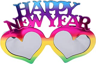 KESYOO 2021 Eyeglasses Happy New Year Sunglasses Heart Shape Plastic Eyewear For New Years Eve Party Photo Prop Supplies (Assorted Color)