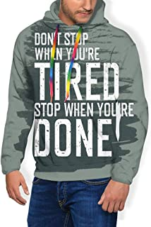 GULTMEE Men's Hoodies Sweatershirt, Motivational Words Dont Stop Encouraging Keep Moving Brush Strokes,5 Size
