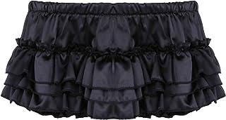 YOOJIA Men's Sexy Satin Ruffled Crossdress Bloomer Skirted Sissy Panties Briefs Underwear