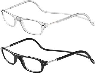 TBOC Pack: Gafas de Lectura Presbicia Vista Cansada – (Dos Unidades) Graduadas +1.50 Dioptrías Montura Transparente y Negra Hombre Mujer Imantadas Plegables Lentes Aumento Leer Ver Cerca Cuello Imán