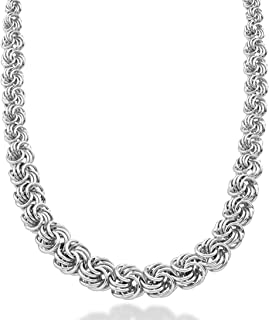 925 Sterling Silver Italian Graduated Love Knot Rosette Link Chain Necklace for Women 17, 18, 20 Inch Handmade in Italy