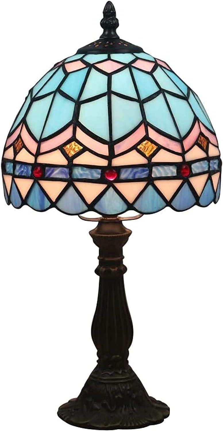 Vintage Mariposa Jardín Tiffany Style Lámpara de Mesa Mediterránea Europea Mesa de salón Lámpara-azul2 (Color : Blue1)