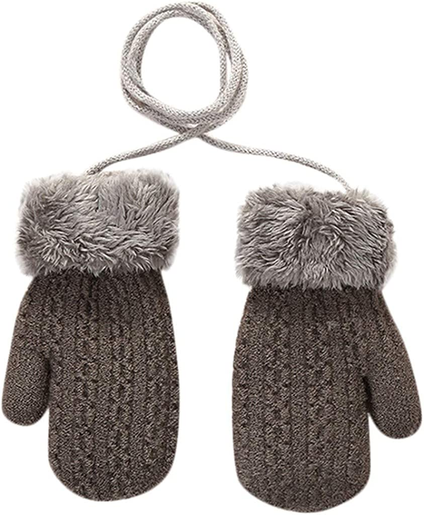 Amaone Kids Mittens On String Children Girls Boys Winter Warm Solid Color Knit Thicken With Anti-Lost String Gloves Child Unisex Aged 2-4