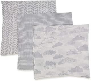 Spasilk 100% Cotton Muslin Swaddle Blankets, Grey Clouds