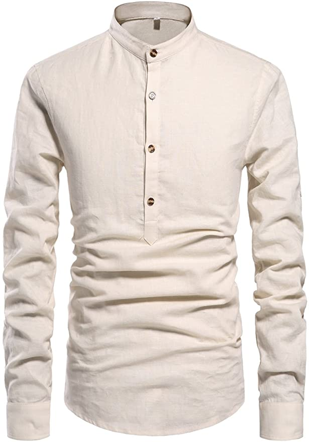 1920s Men's Shirts and Collars History NITAGUT Men Henley Neck Long Sleeve Daily Look Linen Shirts $25.99 AT vintagedancer.com